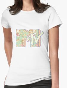 MTV Logo (Pastel Floral) Womens Fitted T-Shirt