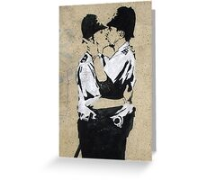 Banksy Kissing Police Greeting Card