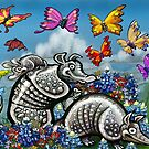 Armadillos Bluebonnets Wildflowers Butterflies by Kevin Middleton