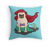 The Little Mer-Pug version 2 Throw Pillow