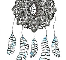 Watercolor and Ink dream catcher (blue) by Ibubblesart