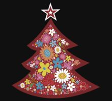 Spring Flowers Whimsical Christmas Tree One Piece - Short Sleeve