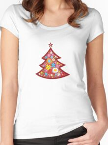 Spring Flowers Whimsical Christmas Tree Women's Fitted Scoop T-Shirt