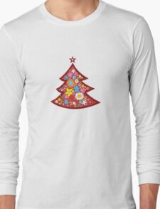 Spring Flowers Whimsical Christmas Tree Long Sleeve T-Shirt