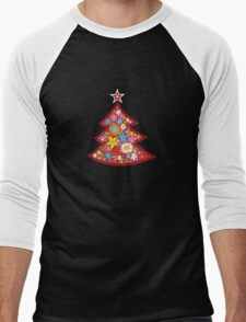 Spring Flowers Whimsical Christmas Tree Men's Baseball ¾ T-Shirt