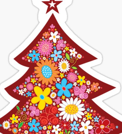 Spring Flowers Whimsical Christmas Tree Sticker