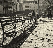 New York Benches and People Black and White by saaton