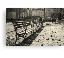 New York Benches and People Black and White Canvas Print