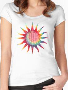 Flower of Life (tie-dye sun) Women's Fitted Scoop T-Shirt