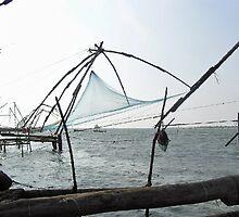 Fishing nets on the sea coast in Alleppey, Kerala, India by ashishagarwal74
