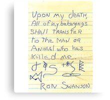 Ron Swanson's Will Canvas Print