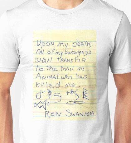 Ron Swanson's Will Unisex T-Shirt
