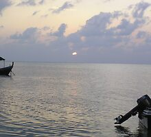 Boats coming to a rest for the day at sunset in the Lakshadweep Islands by ashishagarwal74