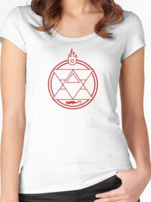 Flame Transmutation Circle Women's Fitted Scoop T-Shirt