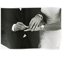 Bride and groom exchanging wedding rings in mariage ceremony black and white analog 35mm film photo Poster