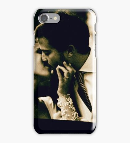 Bride and groom kissing in wedding marriage sepia 35mm film iPhone Case/Skin