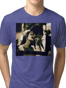 Bride and groom kissing in wedding marriage sepia 35mm film Tri-blend T-Shirt