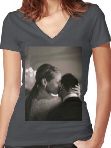 Bride and groom kissing in wedding sepia medium format film Women's Fitted V-Neck T-Shirt
