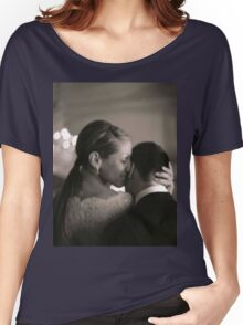 Bride and groom kissing in wedding sepia medium format film Women's Relaxed Fit T-Shirt