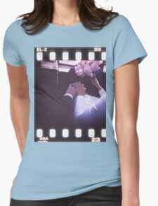 Wedding bride and bridegroom in car 35mm slide film strip Womens Fitted T-Shirt