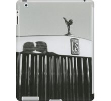 Bride and groom kissing reflected in Rolls Royce car black and white analog 35mm film photo iPad Case/Skin