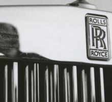 Bride and groom kissing reflected in Rolls Royce car black and white analog 35mm film photo Sticker