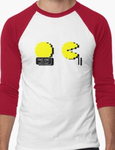 Pac Man Busted! -pixel version-  Men's Baseball ¾ T-Shirt