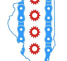 Chicago Flag in Illinois State Outline by Christy Fox