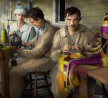 Sewing - Knitting helps me to relax... 1917 by Mike  Savad