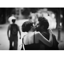 Man and woman kissing in park in black and white analog 35mm film photo Photographic Print