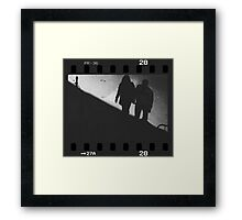Man and woman holding hands in film noir analog 35mm film photo Framed Print