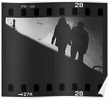 Man and woman holding hands in film noir analog 35mm film photo Poster