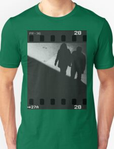 Man and woman holding hands in film noir analog 35mm film photo Unisex T-Shirt