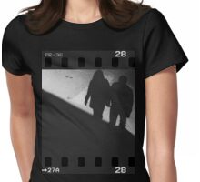 Man and woman holding hands in film noir analog 35mm film photo Womens Fitted T-Shirt