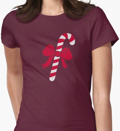 Candy cane bow Womens Fitted T-Shirt