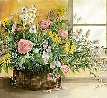 Basket Bouquet by arline wagner