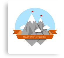 Mountain illustration. Never stop exploring Canvas Print