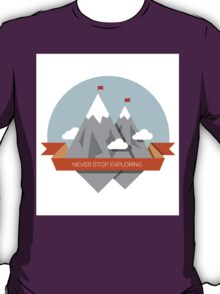 Mountain illustration. Never stop exploring T-Shirt