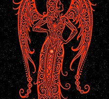 Red Virgo Zodiac Sign in the Stars by Jeff Bartels