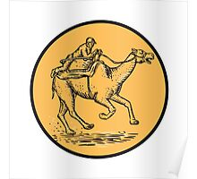Jockey Camel Racing Circle Etching Poster