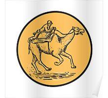 Jockey Camel Racing Circle Etching Poster