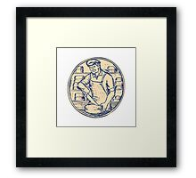 Cheesemaker Cutting Cheddar Cheese Etching Framed Print