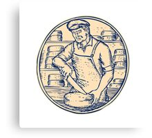Cheesemaker Cutting Cheddar Cheese Etching Canvas Print