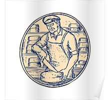 Cheesemaker Cutting Cheddar Cheese Etching Poster