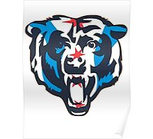 Chicago Flag Bears Logo Poster