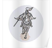 Samurai Warrior With Katana Sword Horseback Etching Poster