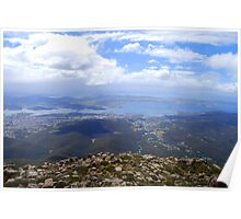 View from Mt. Wellington, Hobart, Tasmania, Australia. Poster