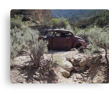 Old Rusty Antique Car in Desert  Canvas Print