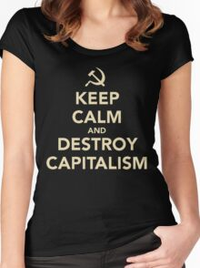 Keep Calm And Destroy Capitalism Women's Fitted Scoop T-Shirt