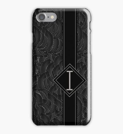1920s Jazz Deco Swing Monogram black & silver letter i iPhone Case/Skin